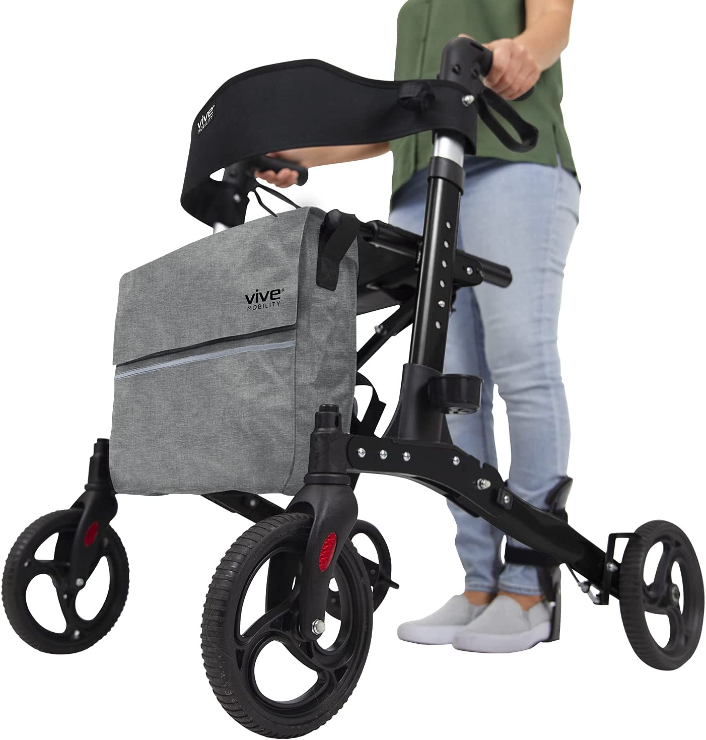 Vive Raleigh Mall Rollator Walker - Folding Medical 4 Wheel Rolling wi Free Shipping Cheap Bargain Gift