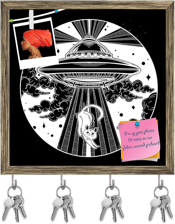 Artzfolio Alien Spaceship D3 Key Holder Hooks   Notice Pin Board   Antique golden Frame 20 X 20Inch