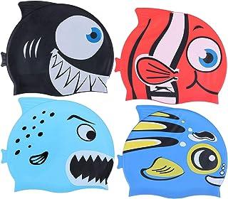 Xgood 4 Pieces Swim Caps Kids Swimming Caps Silicone Animal Swim Hats Bathing Cap Cartoon Fish Design Swim Hats Waterproof...