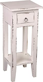 Sunset Trading Shabby Chic Cottage Table, Small One Drawer, Light Distressed whitewash