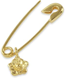14K Gold Safety Pin Earring With Dangling Charms
