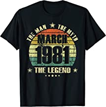 Vintage Born In March 1981 Man Myth Legend 39 Years Old T-Shirt