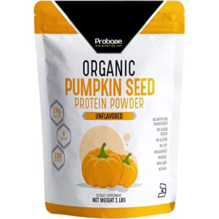 Probase Nutrition Organic Pumpkin Seed Protein Powder, Plant Based, Vegan, Unflavored, Unsweetened, No Added Sugar, Gluten & Soy Free, Paleo & Keto Friendly, 1 lb
