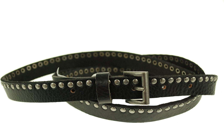 Steve Madden Women's Flip Tip Studded Leather Belt Black