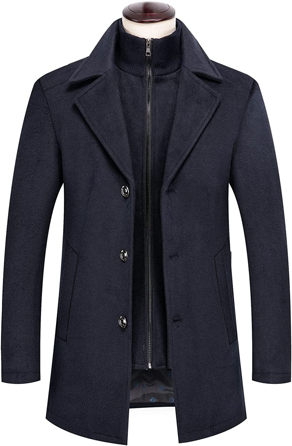 CHARTOU Men's 2Pcs Quilted Notched Collar Single Breasted Wool Pea Coat with Detachable Zip Gilet