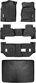 MAXLINER Floor Mats 3 Rows and Cargo Liner Behind 3rd Row Set Black for 2015-2018 Suburban / Yukon XL (with 2nd Row Bench Seat)
