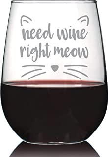 Need Wine Right Meow – Cute Funny Cat Stemless Wine Glass, Large 17 Ounces, Etched Sayings, Gift Box