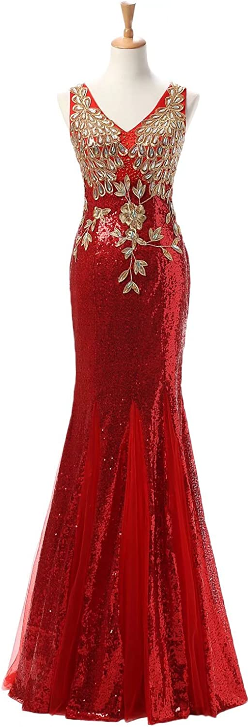DINGZAN Woman's Sequin Paillette and Tulle Mermaid Pageant Dance Prom Dresses