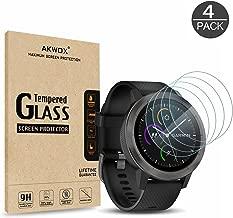 AKWOX (4-Pack) Garmin Vivoactive 3 Screen Protector, [0.3mm 2.5D High Definition 9H] Tempered Glass Screen Protector for Garmin Vivoactive 3 / Fenix Chronos