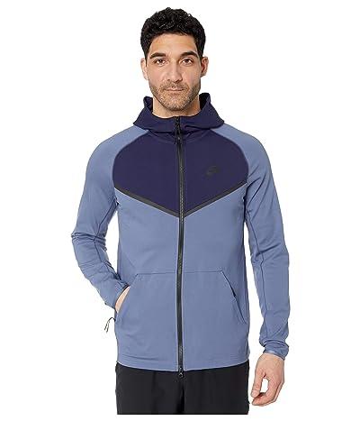 Nike NSW Hoodie Full Zip Ponte (Diffused Blue/Blackened Blue/Black) Men