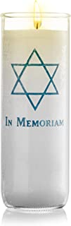 Memorial Candle Yartzeit Candle with Star of David in Glass - White Paraffin Wax Candle Burning Time 7 Days (7 Days)