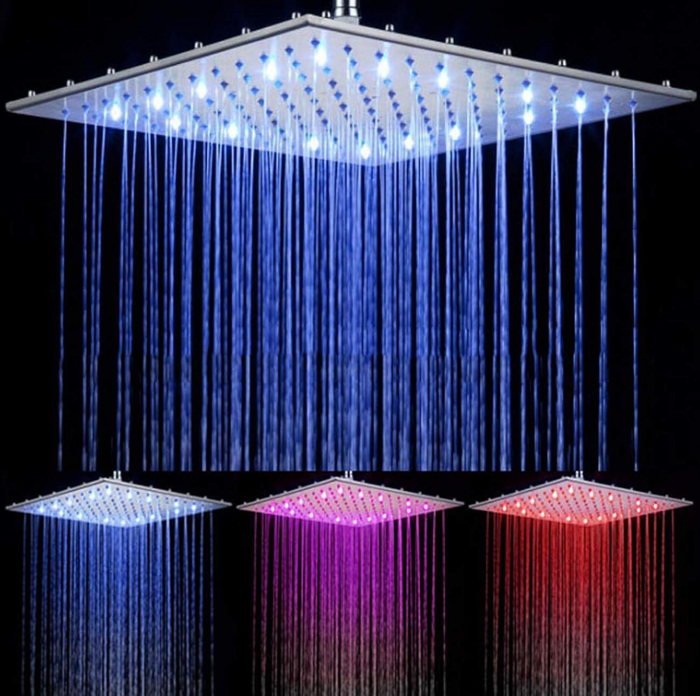 Tochange 16 Edelstahl LED Duschkopf 3 Farben nderung LED-Overhead-Ranfall-Duschkopf für Badeduschen-Zubehr, Wasserfluss angetriebene
