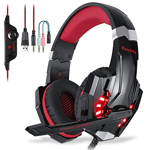 EasySMX Micro Casque PS4 Gaming, Casque Audio Stéréo Basse avec LED Lumière, Casque Gaming bien Anti-Bruit, Casque Gamer Confortable Compatible pour PS4/PC/ Laptop/Tablette/ Smartphone (Noir+Rouge)