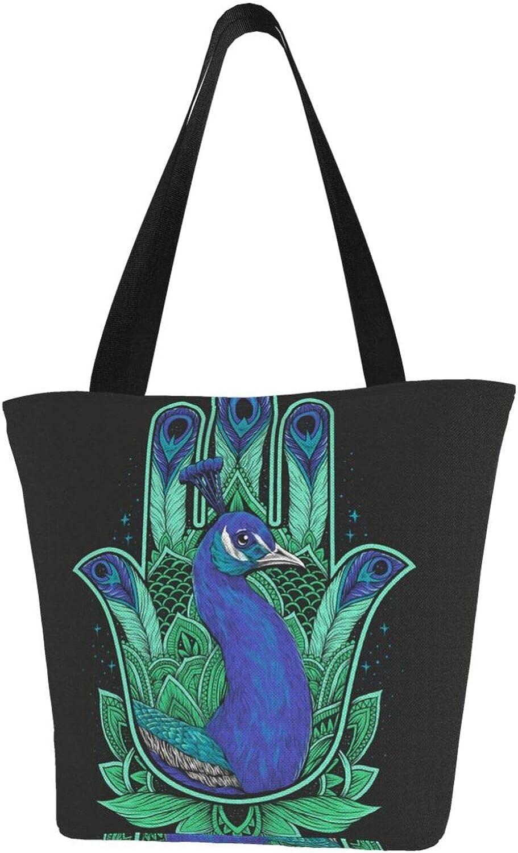 Peacock Art Hamsa Hand Fatima Faith Themed Printed Women Canvas Handbag Zipper Shoulder Bag Work Booksbag Tote Purse Leisure Hobo Bag For Shopping
