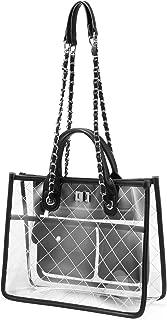 Women Clear Handbag Fashion Shoulder Bag Stadium Approved Transparent Chain Purse Designer Tote Quilted Concert