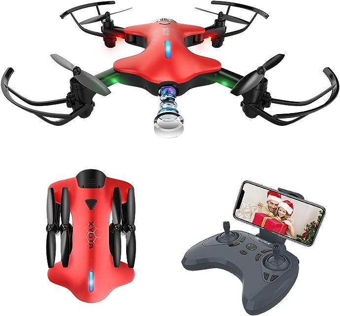 ATOYX Drone con Cámara 720P Drone Plegable RC Quadcopter WiFi FPV en Tiempo Real Modo sin Cabeza Gravedad Sensor Mejor Drone de Juguete para Niños/Principiantes AT-146