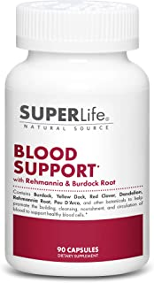 Blood Support - with Rehmannia, Dandelion, Red Clover, Burdock Yellow Dock, Echinacea & PAU D'Arco | Promotes Building, Cl...