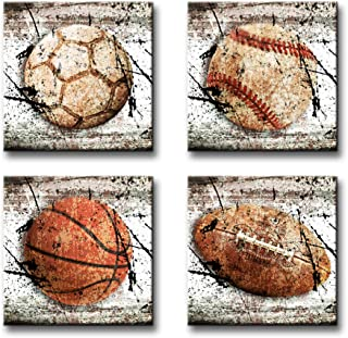 BLINFEIRU -Sport Themed Wall Art Vintage Canvas Print Soccer Baseball Basketball Football Poster Set of 4 Photos for Little Boy Room Bedroom Nursery Decorations Home Decor Wood framed Ready to Hang