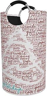 N\A Grand Panier à Linge, Nuage de Mot joyeuses fêtes sur Fond Blanc Sac à vêtements Folable, Panier Pliable en Tissu 82L,...