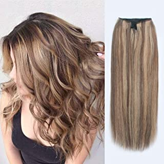 ABH AmazingBeauty Hair Miracle Wire Hair Extensions - Invisible Miracle Wire Remy Human Hair, 6-12 Chestnut Brown with Dark Dirty Blonde Highlights, 16 Inch