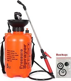 easyum Lawn and Garden 1.3 Gallon Pump Pressure Portable Sprayer, Handheld Mist Spray, with Shoulder Strap 5L