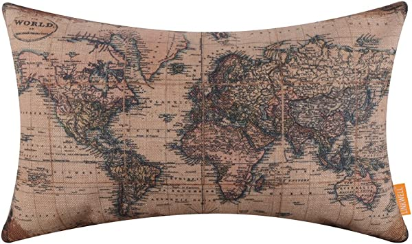 LINKWELL 20x12 Inches Antique Old World Map Burlap Throw Pillow Cover Cushion Cover CC1317