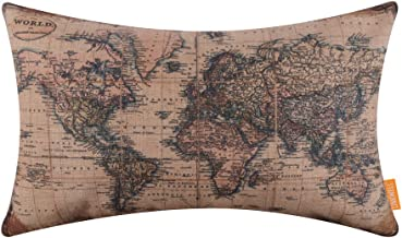 LINKWELL 20x12 inches Antique Old World Map Burlap Throw Pillow Cover Cushion Cover (CC1317)