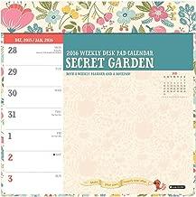 Orange Circle Studio 2016 Weekly Desk Calendar Pad, Secret Garden