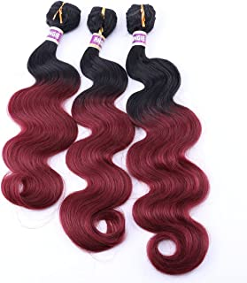 Body Wave Synthetic Hair Weave 3 Bundles Mixed Length 16 18 20 Inches Two Tone Ombre Color Black and Burgundy