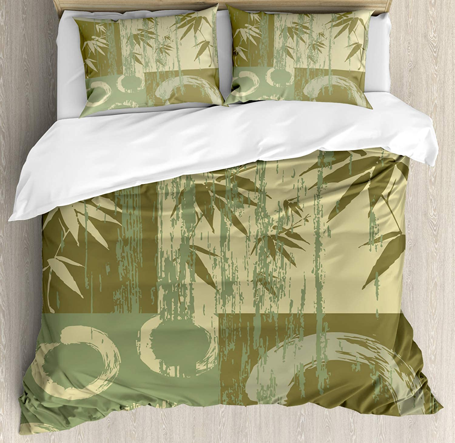 Ambesonne Bamboo House Decor Duvet Cover Set, Zen Circle and Bamboo Silhouette Over Vintage color Oriental Eastern Style Patchwork Art Print, A 3 Piece Bedding Set with Pillow Shams, Queen Full, Green