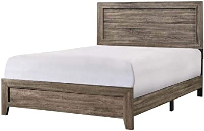 Benjara Rustic Style Wooden California King Size Bed, Weathered Gray