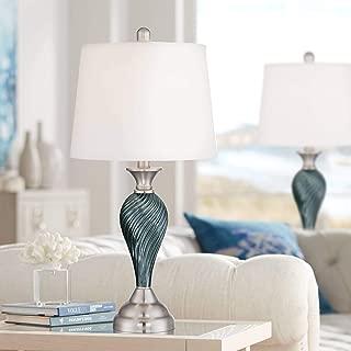 Arden Modern Table Lamps Set of 2 Green Blue Glass Twist Column Steel Base Empire Shade for Living Room Family Bedroom - Regency Hill