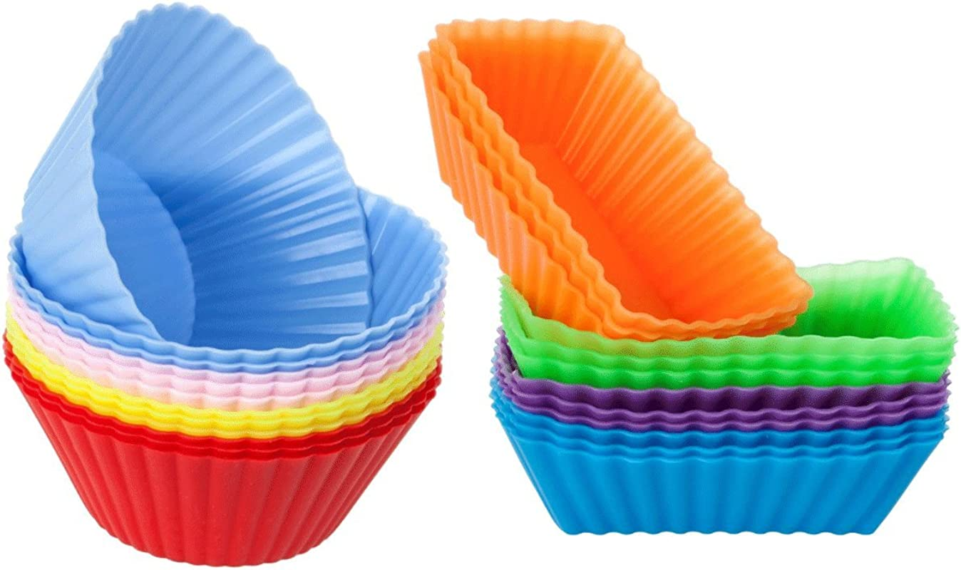Cutequeen Trading 24pcs 12pcs Round And 12pcs Rectangular Silicone Baking Cups Cupcake Liners 24 Pack Vibrant Muffin Molds In Storage Container Never Buy Paper Cups Again Pack Of 24