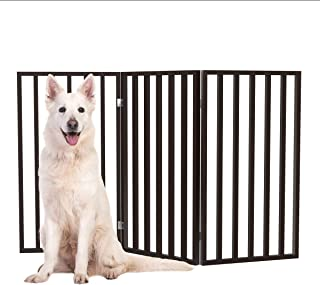 """Wooden Pet Gate- Tall Freestanding 3-Panel Indoor Barrier Fence, Lightweight & Foldable for Dogs, Puppies, Pets- 54 X32"""" b..."""