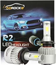VoRock8 R2 COB H7 8000LM Led Headlight Conversion Kit,High Beam Low Beam Headlamp, Fog Light, Halogen Head Light Replacement, 6500K Xenon White, 1 Pair