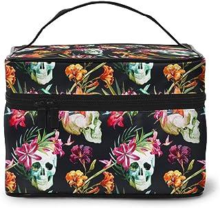AHOOCUSTOM Flowers Skull Printed large capacity portable professional Makeup bags, Travel necessities size toiletry Cosmet...