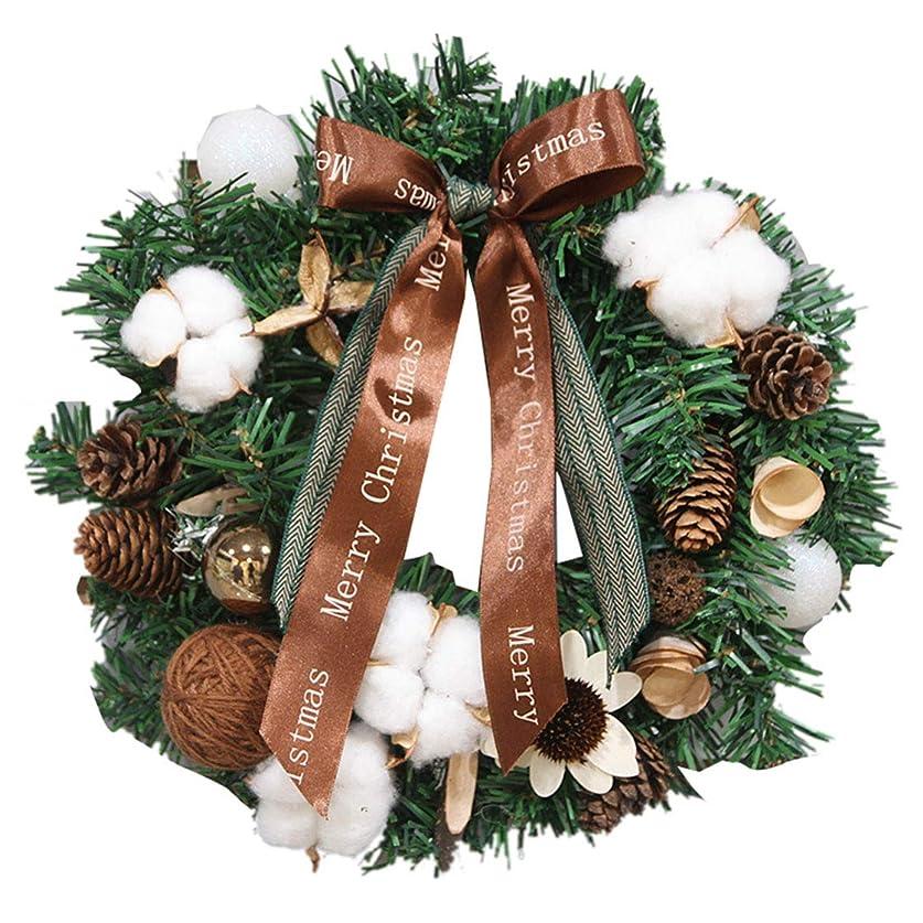 配管工交換無駄Cnstone クリスマスリース 直径約40cm フラワー まつぼっくり 木の実 ボール リボンクリスマス リース ギフト 玄関リース クリスマスプレゼント 店舗 装飾 ディスプレイ 壁掛け ドア吊り 撮影 道具