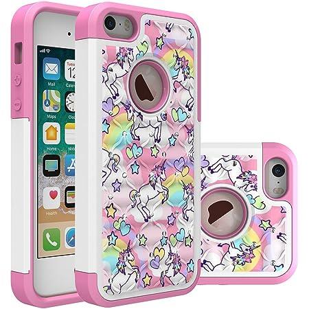 iPhone 5S Case, iPhone 5 Bling Case, Rainbow Unicorn Pattern Heavy Duty Shockproof Studded Rhinestone Crystal Bling Hybrid Case Silicone Protective ...