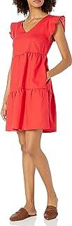 Amazon Brand - Goodthreads Women's Relaxed Fit Washed Linen Blend Flutter Sleeve Peasant Dress