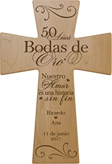 LifeSong Milestones Personalized Spanish Wedding 50th Idea for Him Her Bride Groom Husband Wife Couple Decorative Wooden Wall Maple Cross Keepsake (Maple)