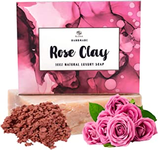 Rose Clay Organic Soap Bar-With Kaolin Clay. Xmas Stocking Stuffer Gift Idea-Natural Face Soap For Even Toned Healthy Skin.Moisturizing Coconut Oil for Facial,Shave,Body Wash-Beauty Spa Gift for Women