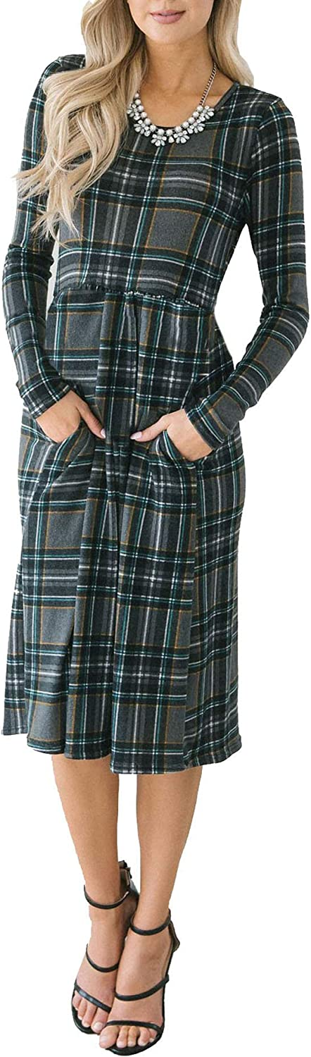 Chuanqi Womens Plaid Dress Casual Long Sleeve Round Neck ALine Midi T Shirt Dresses with Pockets