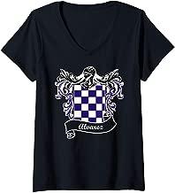 Womens Alvarez Coat of Arms surname last name family crest V-Neck T-Shirt