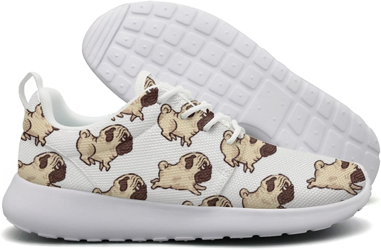 Cute Pug Dog Womens Flex Mesh Casual shoes Women