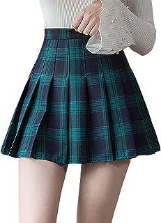Frobukio Falda plisada para mujer y niña, de cintura alta, falda de patinador de tenis, escuela de porrista, falda uniform...