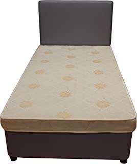 Divan Base, Head Board with Hard Foam Mattress size 150cm x 200cm Grey