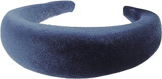 Glamour Girlz, Diadema acolchada de terciopelo para mujer (azul marino)