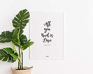 Láminas decorativas, lámina con mensaje ALL you NEED is LOVE, lámina lista para colgar, papel verjurado, A4, lettering