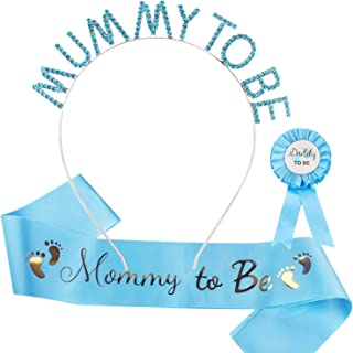 Baby Shower Decoration for Boy, Aprince Mommy To Be Headband Tiara Crown Blue Mother To Be Sash Daddy To Be Pin Baby Showe...
