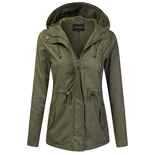 d067f12b JJ Perfection Women's Casual Lightweight Anorak Army Utility Hoodie Jacket